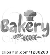 Clipart Of A Grayscale Chef Hat Shaped Muffin Or Bread Loaf Over Bakery Text And Wheat Royalty Free Vector Illustration