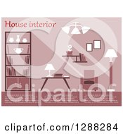 Clipart Of A Pink Toned Living Room Interior With Sample Text Royalty Free Vector Illustration by Vector Tradition SM