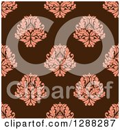 Clipart Of A Seamless Background Design Pattern Of Pink Damask Over Brown Royalty Free Vector Illustration