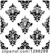 Clipart Of A Seamless Background Design Pattern Of Black And White Damask 12 Royalty Free Vector Illustration