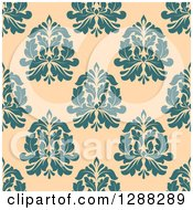 Clipart Of A Seamless Background Design Pattern Of Turquoise Damask Over Pastel Orange Royalty Free Vector Illustration