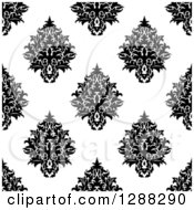 Clipart Of A Seamless Background Design Pattern Of Black And White Damask 11 Royalty Free Vector Illustration