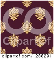 Clipart Of A Seamless Background Design Pattern Of Yellow Damask Over Marroon Royalty Free Vector Illustration