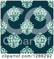 Clipart Of A Seamless Background Design Pattern Of Blue Damask Over Teal Royalty Free Vector Illustration by Seamartini Graphics