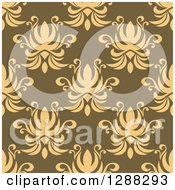 Clipart Of A Seamless Background Design Pattern Of Yellow Damask Over Green Royalty Free Vector Illustration