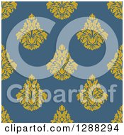 Clipart Of A Seamless Background Design Pattern Of Yellow Damask Over Blue Royalty Free Vector Illustration