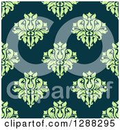 Clipart Of A Seamless Background Design Pattern Of Green Damask Over Teal Royalty Free Vector Illustration