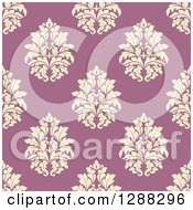 Clipart Of A Seamless Background Design Pattern Of Yellow Damask Over Pink Royalty Free Vector Illustration
