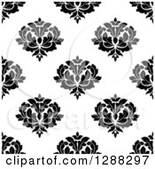 Clipart Of A Seamless Background Design Pattern Of Black And White Damask 10 Royalty Free Vector Illustration