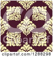 Clipart Of A Seamless Background Design Pattern Of Yellow Damask Over Brown Royalty Free Vector Illustration