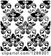 Clipart Of A Background Pattern Of Seamless Black Flowers On White Royalty Free Vector Illustration by Seamartini Graphics