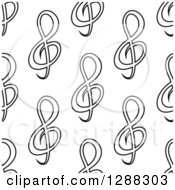 Clipart Of A Background Pattern Of Black And White Seamless Music Clefs Royalty Free Vector Illustration