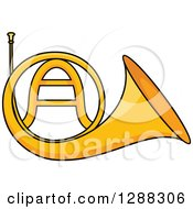 Clipart Of A Cartoon Golden French Horn Royalty Free Vector Illustration