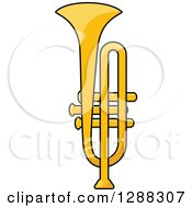 Clipart Of A Cartoon Golden Trumpet Royalty Free Vector Illustration by Seamartini Graphics