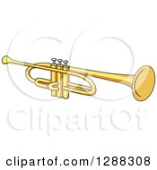 Clipart Of A Golden Trumpet Royalty Free Vector Illustration