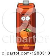 Clipart Of A Happy Apricot Juice Carton Character Royalty Free Vector Illustration