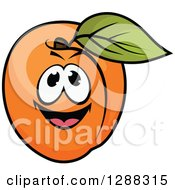 Clipart Of A Happy Apricot Character Royalty Free Vector Illustration