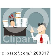 Clipart Of A Flat Modern Design Styled White Businessman Talking To A Confused Worker Bombarded With Paperwork Over Blue Royalty Free Vector Illustration
