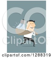Clipart Of A Flat Modern Design Styled White Businessman Stealing A Light Bulb Idea Over Blue Royalty Free Vector Illustration by Vector Tradition SM