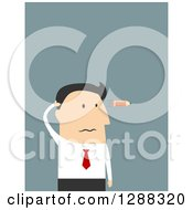 Clipart Of A Flat Modern Design Styled White Businessman With A Burnt Out Pencil Flying Like A Bullet By His Head Over Blue Royalty Free Vector Illustration