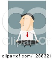 Clipart Of A Flat Modern Design Styled White Businessman Meditating Over Blue Royalty Free Vector Illustration