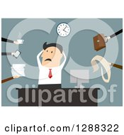 Clipart Of A Flat Modern Design Styled White Businessman Being Overwhelmed With Tasks Over Blue Royalty Free Vector Illustration