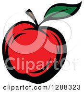 Clipart Of A Red Apple With A Green Leaf Royalty Free Vector Illustration