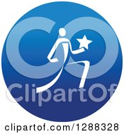 Clipart Of A White Track And Field Athlete Running With A Star In A Round Blue Icon Royalty Free Vector Illustration