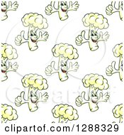 Clipart Of A Seamless Background Pattern Of A Cauliflower Character Giving A Thumb Up Royalty Free Vector Illustration