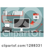 Clipart Of A Desktop Computer Work Station Royalty Free Vector Illustration