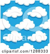 Clipart Of A Seamless Pattern Background Of Puffy Clouds In A Blue Sky 2 Royalty Free Vector Illustration by Vector Tradition SM