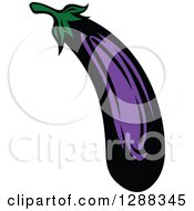 Clipart Of A Purple Eggplant Royalty Free Vector Illustration