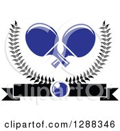 Clipart Of A Black Banner With A Blue Ball Wreath And Crossed Ping Pong Baddles Royalty Free Vector Illustration