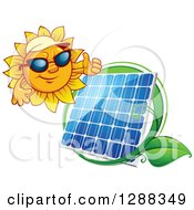Clipart Of A Sun Wearing Shade And Giving A Thumb Up Over A Solar Panel Encircled With A Swoosh And Green Leaf Royalty Free Vector Illustration