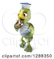 Clipart Of A 3d Tortoise Sailor Facing Left And Eating A Waffle Ice Cream Cone Royalty Free Illustration