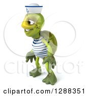 Clipart Of A 3d Tortoise Sailor Facing Left Royalty Free Illustration