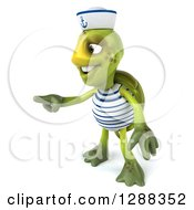 Clipart Of A 3d Tortoise Sailor Pointing To The Left Royalty Free Illustration