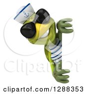 Clipart Of A 3d Tortoise Sailor Wearing Sunglasses And Smiling Around A Sign Royalty Free Illustration