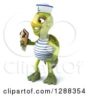 Clipart Of A 3d Tortoise Sailor Facing Left And Holding A Waffle Ice Cream Cone Royalty Free Illustration
