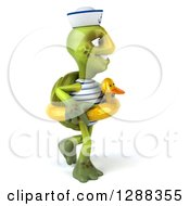 Clipart Of A 3d Tortoise Sailor Walking To The Right In A Duck Inner Tube Royalty Free Illustration
