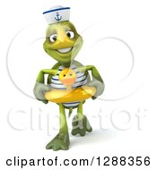 Clipart Of A 3d Tortoise Sailor Walking In A Duck Inner Tube Royalty Free Illustration by Julos