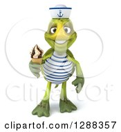 Clipart Of A 3d Tortoise Sailor Holding A Waffle Ice Cream Cone Royalty Free Illustration