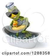 Clipart Of A 3d Tortoise Sailor Wearing Sunglasses And Getting Out Of A Bath Tub With A Duck Inner Tube Royalty Free Illustration by Julos