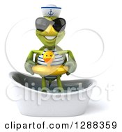 Clipart Of A 3d Tortoise Sailor Wearing Sunglasses And Standing In A Bath Tub With A Duck Inner Tube Royalty Free Illustration