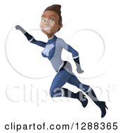 Clipart Of A 3d Young Black Female Super Hero In A Dark Blue Suit Flying To The Left Royalty Free Illustration by Julos