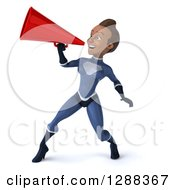 Clipart Of A 3d Young Black Female Super Hero In A Dark Blue Suit Announcing To The Left With A Megaphone Royalty Free Illustration by Julos