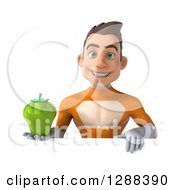Clipart Of A 3d Young Brunette White Male Super Hero In An Orange Suit Holding A Green Bell Pepper Over A Sign Royalty Free Illustration