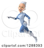 Clipart Of A 3d White Haired Caucasian Female Super Hero In A Blue Suit Flying And Pointing To The Left Royalty Free Illustration by Julos