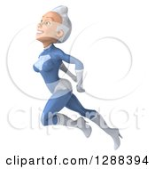 Clipart Of A 3d White Haired Caucasian Female Super Hero In A Blue Suit Flying Up To The Left Royalty Free Illustration by Julos