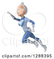 Clipart Of A 3d White Haired Caucasian Female Super Hero In A Blue Suit Flying To The Left Royalty Free Illustration by Julos
